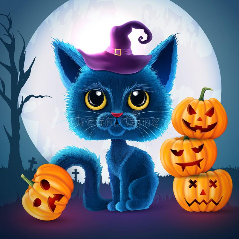 Halloween funny characters. Black cat with big eyes and glowing pumpkin. Invitation card for party and sale. Autumn holidays. Vect. Halloween funny characters royalty free illustration