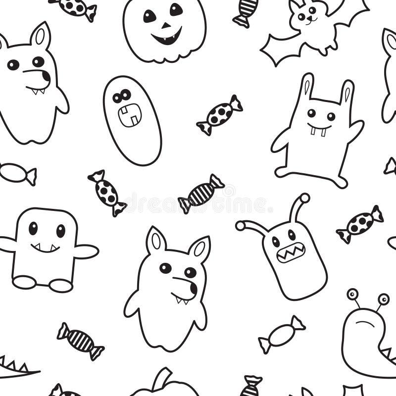 Halloween funny monster seamless pattern. vector illustration