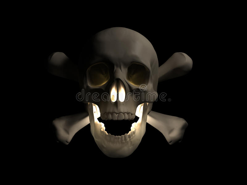 Halloween-furchtsamer Schädel 3d übertragen stock abbildung