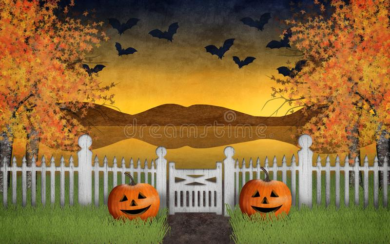 Halloween garden with pumpkins and a beautiful autumn landscape in the background where the bats fly in the sky royalty free illustration