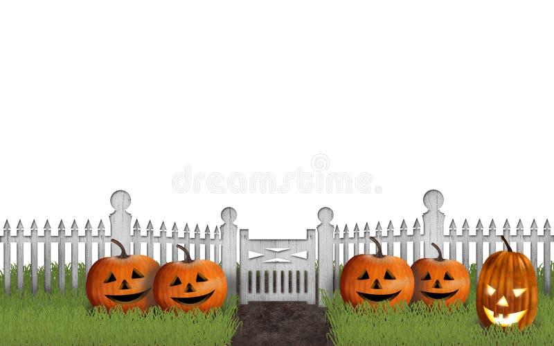 Halloween-Garten mit Kürbisen vor einem Zaun lizenzfreie abbildung
