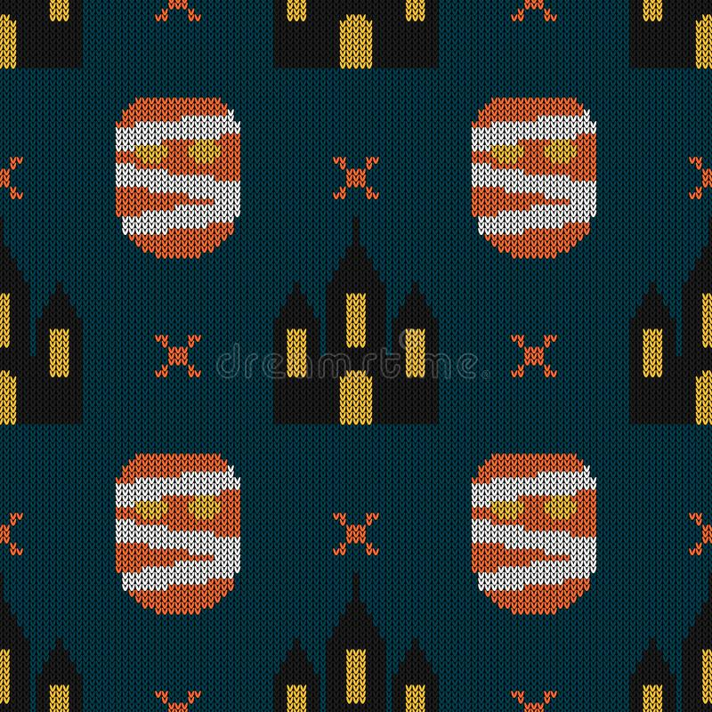 Halloween gebreid patroon Naadloze het Breien Textuur met monste vector illustratie