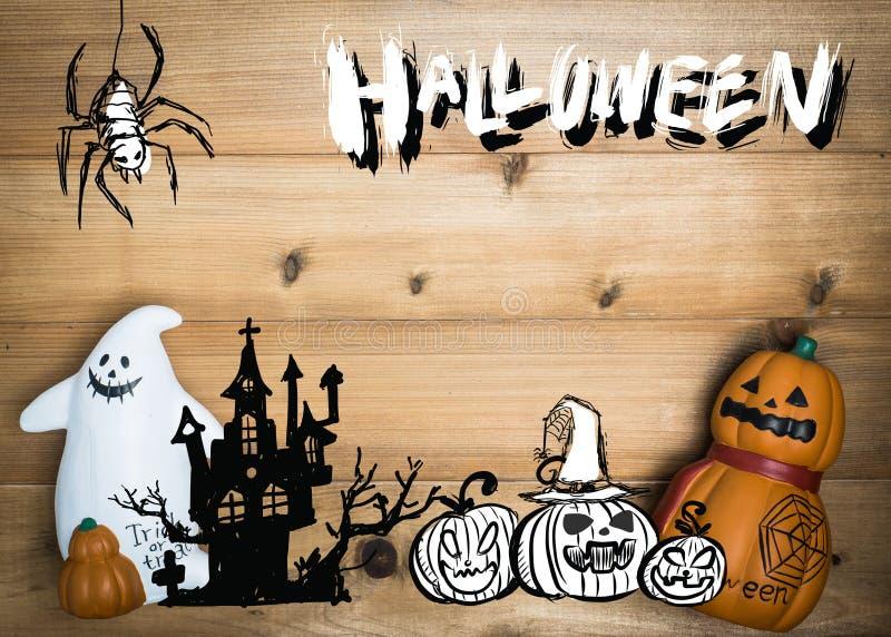 Halloween-Gegenstandkonzept mit hölzernem Hintergrund Halloween Pumpki stockfotos