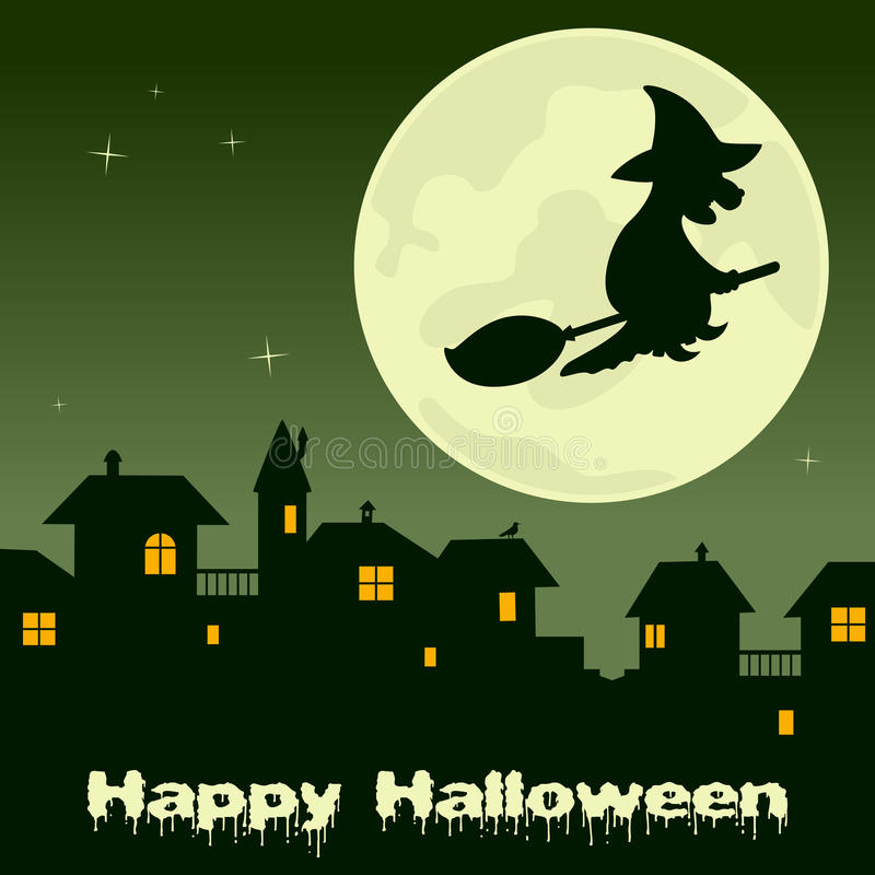 Halloween-Geisterstadt- und -hexenfliegen vektor abbildung
