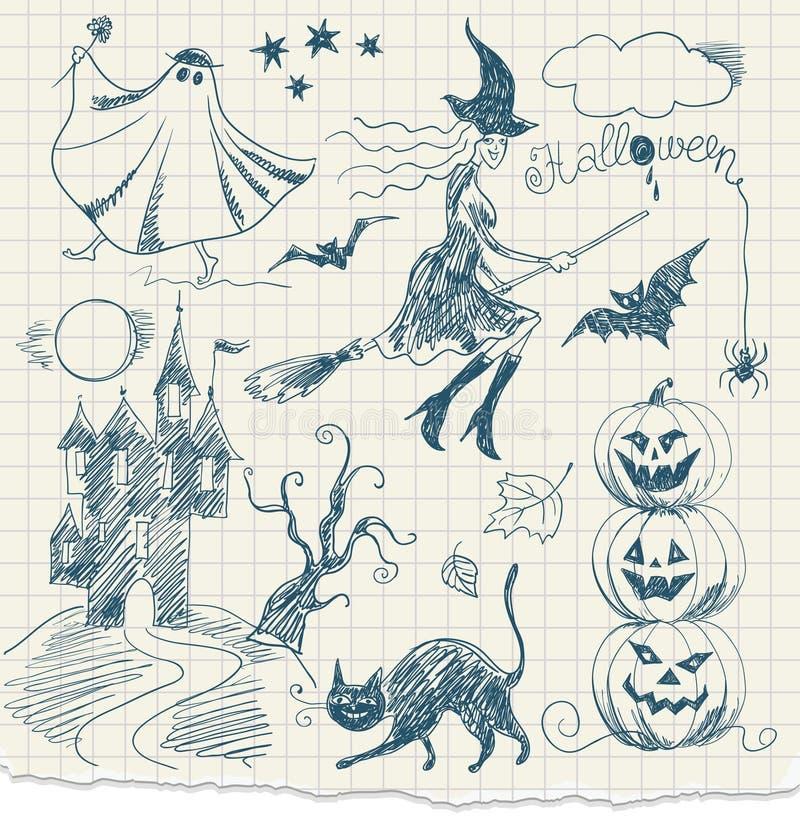 Halloween-Gekritzel stock abbildung