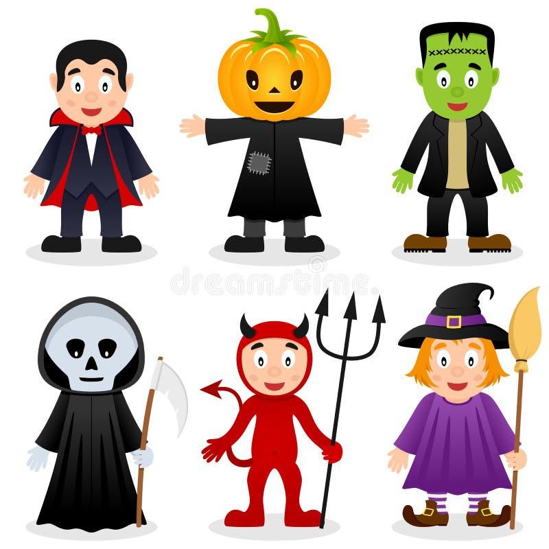 Halloween-Geplaatste Beeldverhaalmonsters royalty-vrije illustratie