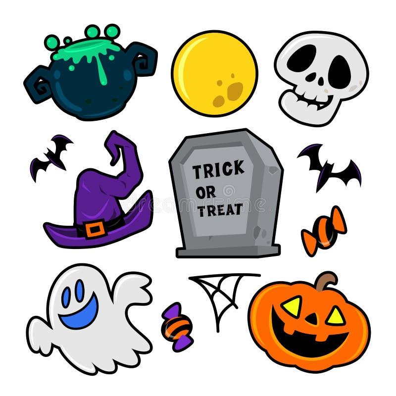 Halloween-geplaatste elementen vectorpictogrammen vector illustratie