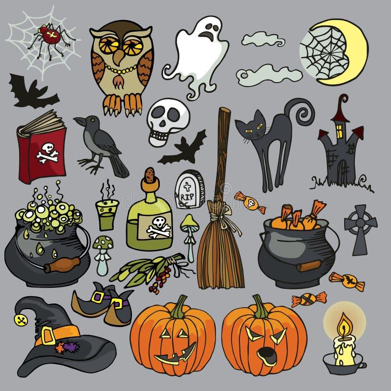 Halloween-geplaatste Heksen griezelige elementen stock illustratie