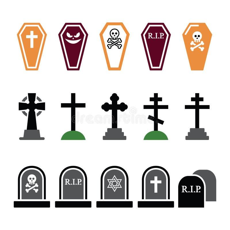 Halloween, geplaatste kerkhof kleurrijke pictogrammen - doodskist, kruis, graf royalty-vrije illustratie