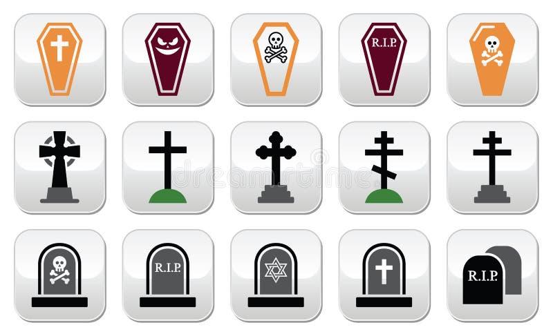 Halloween, geplaatste kerkhofpictogrammen - doodskist, kruis, graf royalty-vrije illustratie