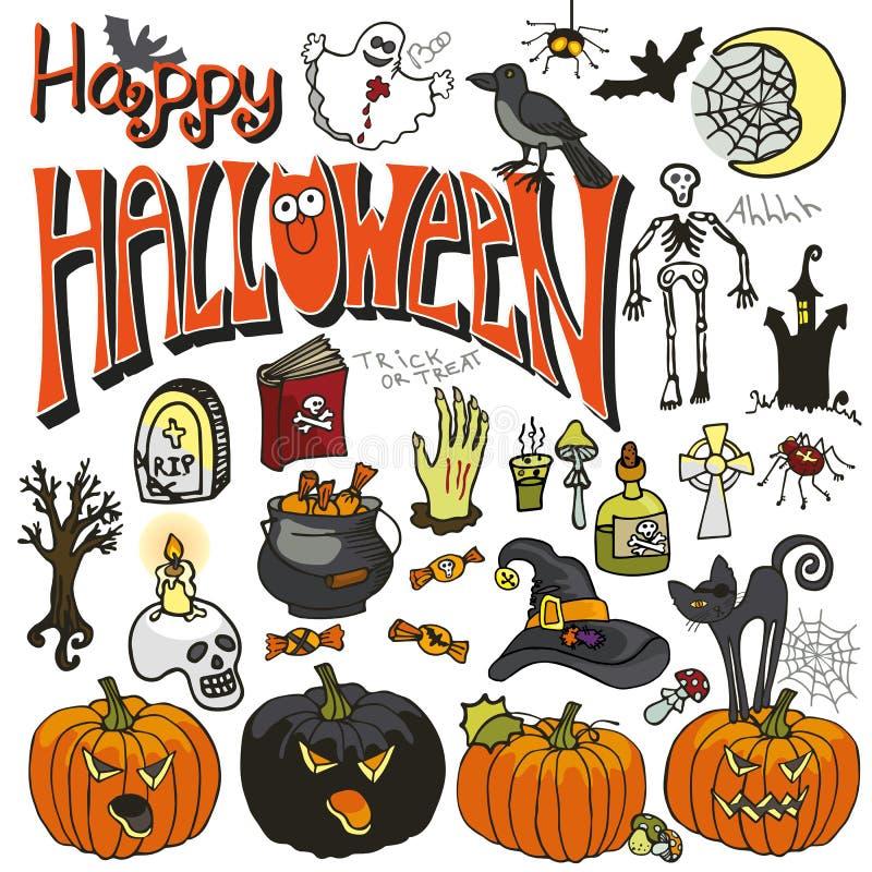 Halloween-geplaatste krabbelelementen gekleurd royalty-vrije illustratie