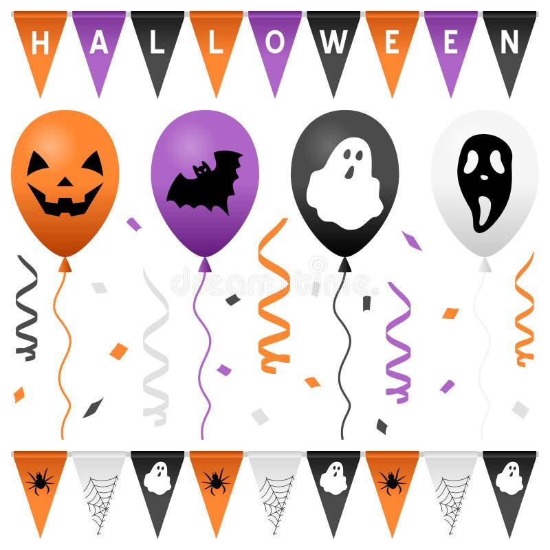 Halloween-Geplaatste Partijvlaggen & Ballons royalty-vrije illustratie