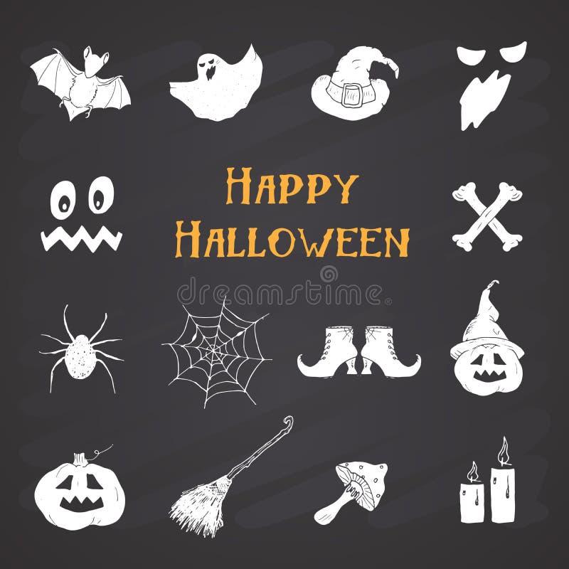 Halloween-geplaatste pictogrammen, hand getrokken ontwerpelementen, vectorillustratie op bordachtergrond stock illustratie