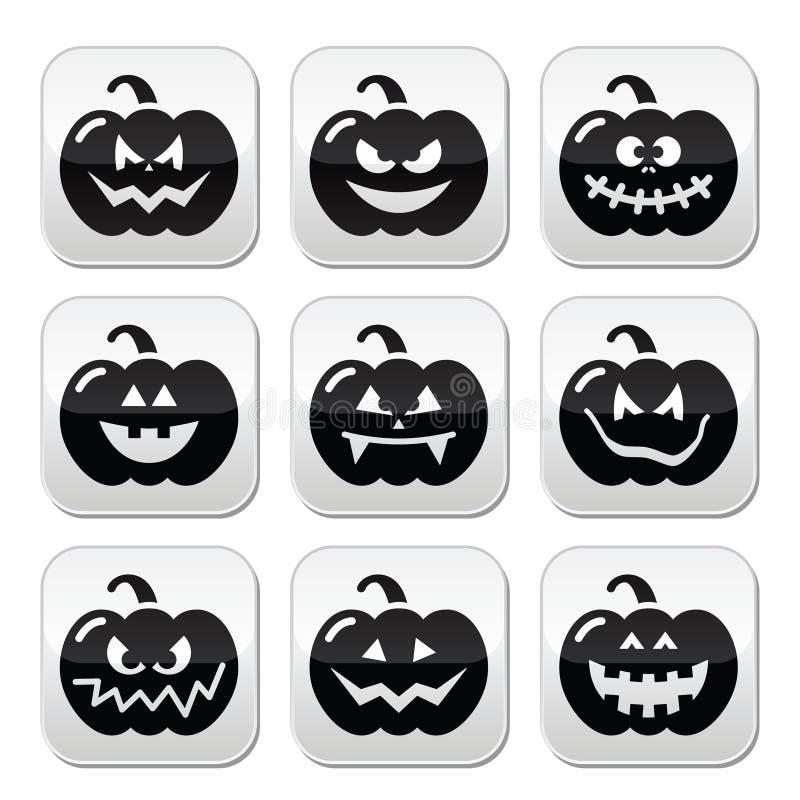Halloween-geplaatste pompoenknopen vector illustratie