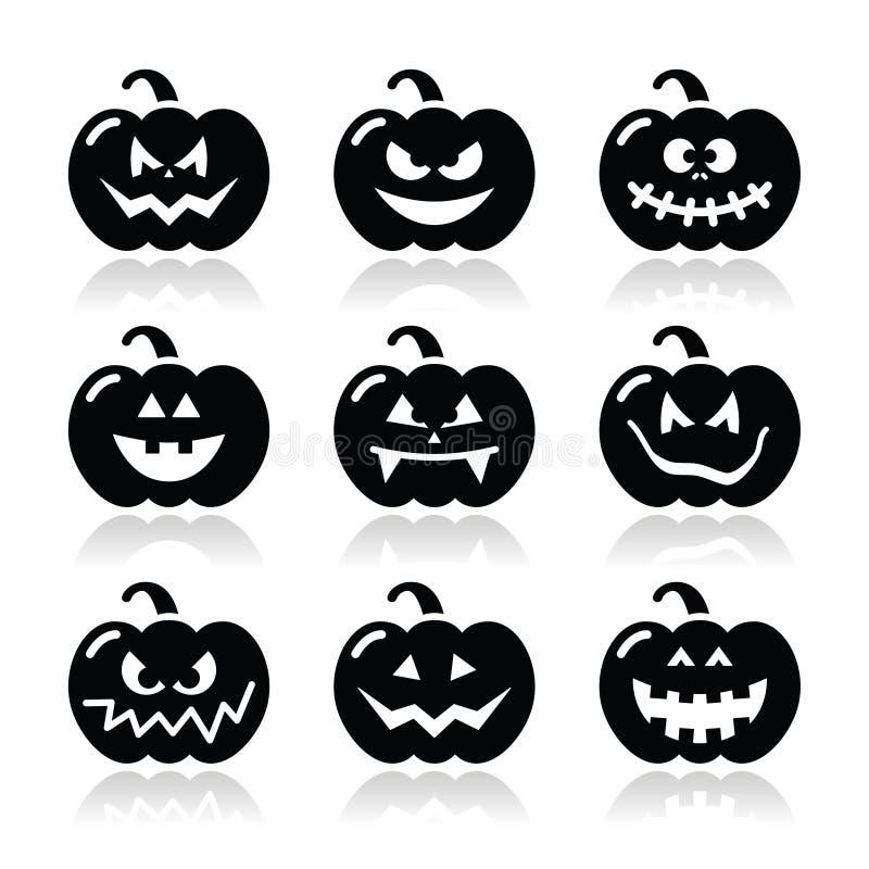 Halloween-geplaatste pompoenpictogrammen vector illustratie