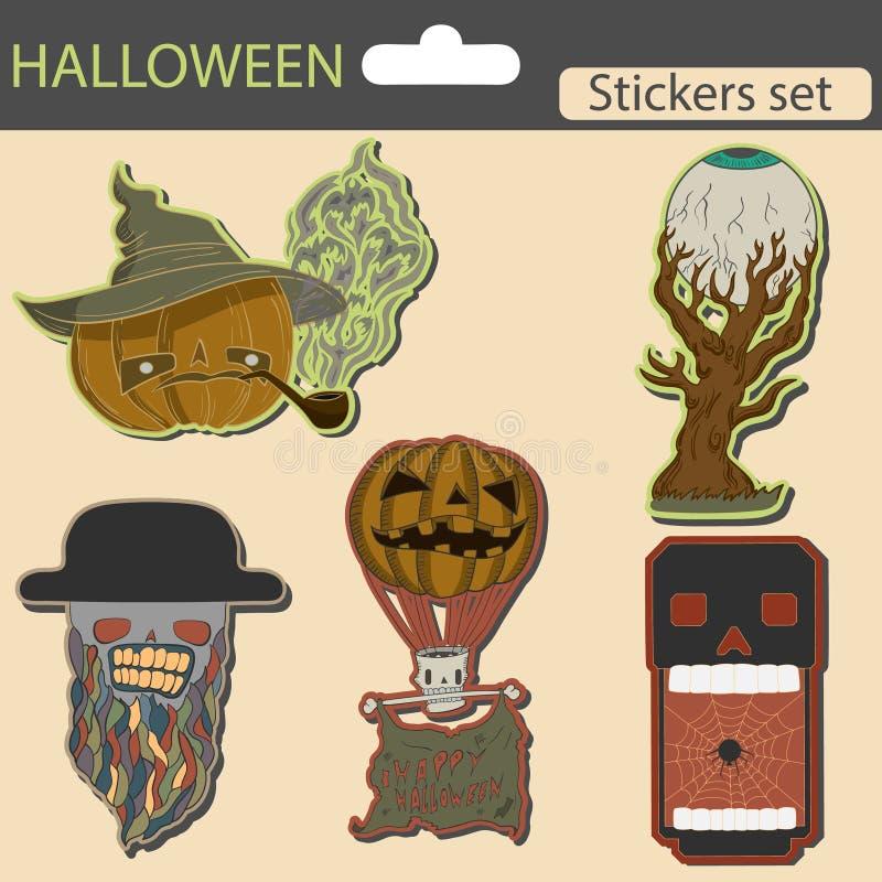 Halloween-geplaatste stickers vector illustratie