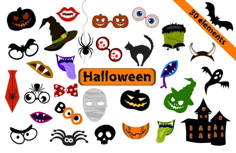 Halloween-Gestaltungselemente für Parteistützen vektor abbildung