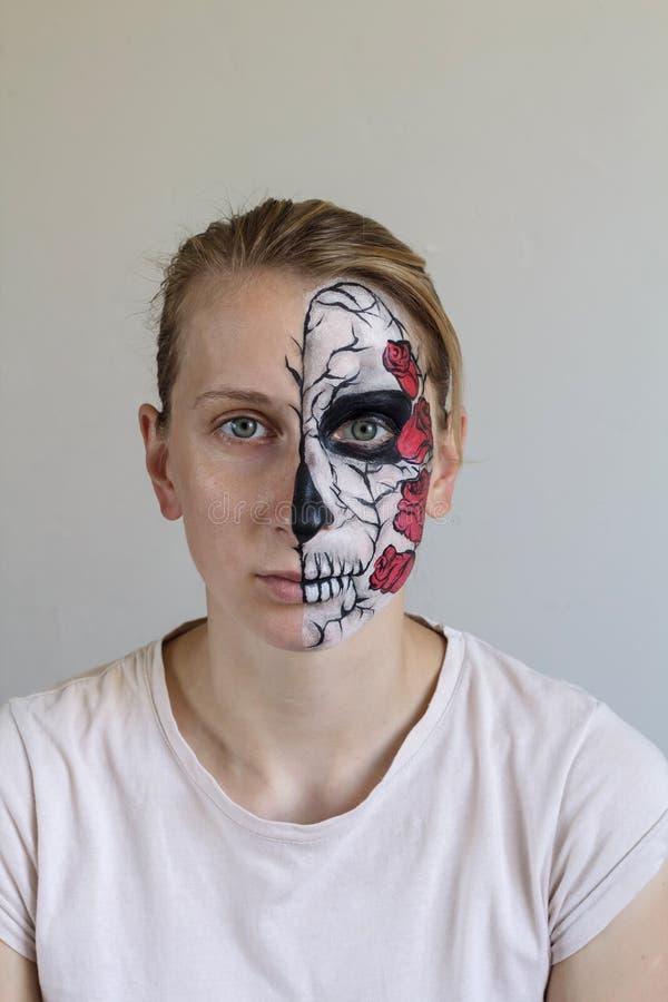 Halloween-gezicht het schilderen stock afbeelding