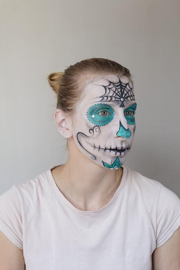 Halloween-gezicht het schilderen royalty-vrije stock afbeelding