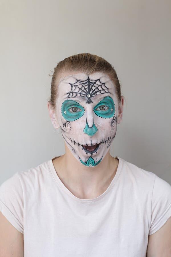 Halloween-gezicht het schilderen stock foto