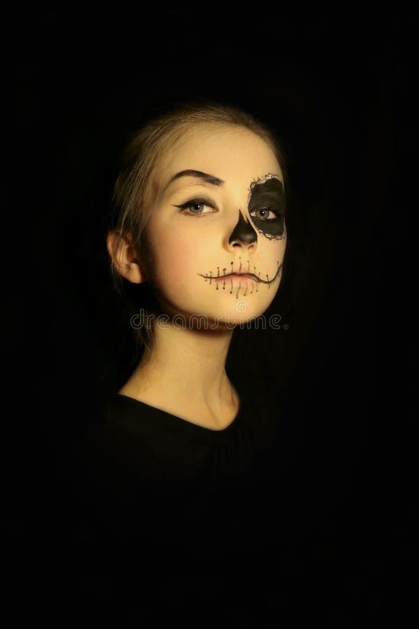 Halloween, gezicht-kunst, schedel maakt omhoog concept royalty-vrije stock afbeeldingen
