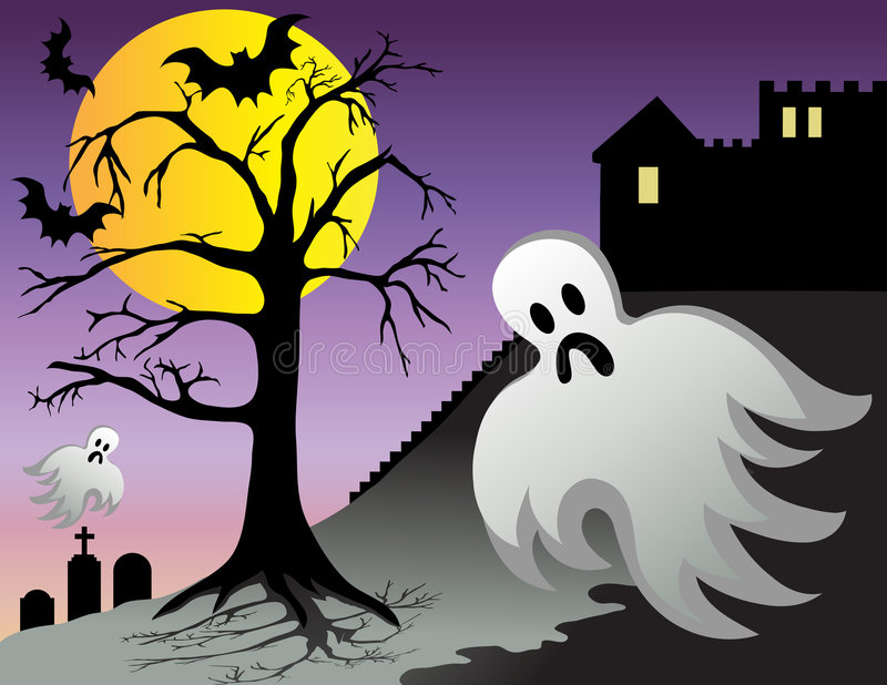 Halloween Ghost Bats Castle Graves at Night stock illustration