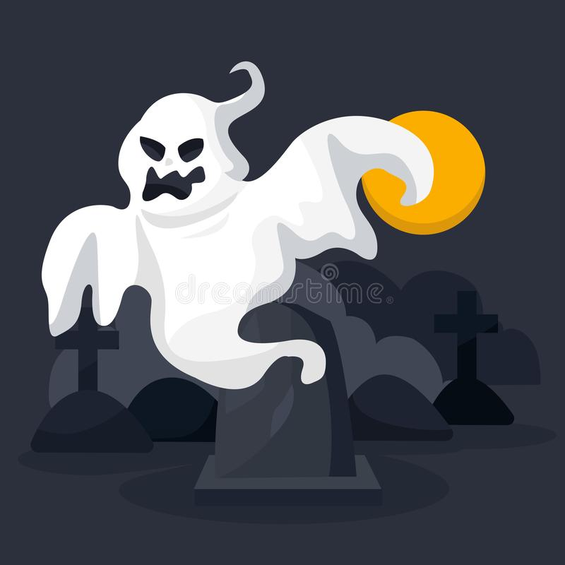 Halloween ghost character on scary castle background with moon. Happy halloween. Cartoon royalty free illustration