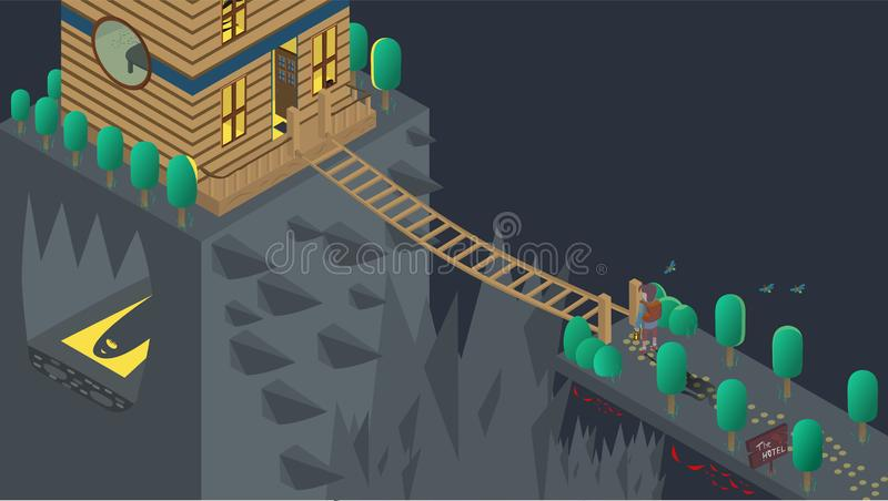 Halloween, ghost, house, boy stock illustration