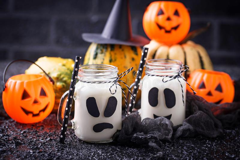 Halloween ghost-like drinks for party stock images