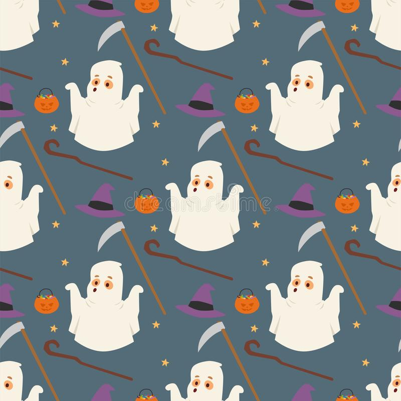 Halloween ghost seamless pattern background night rip party trick or treat candies vector illustration. royalty free illustration