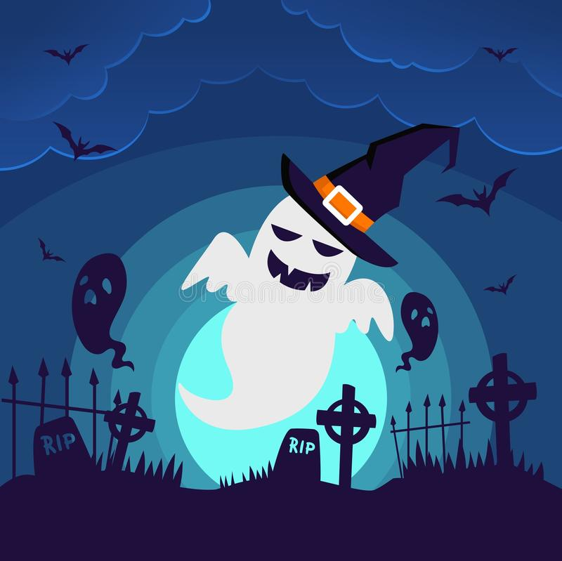Halloween Ghost Wallpaper Background. Eps 10 vector illustration