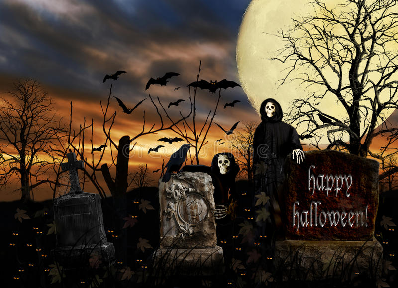 Halloween Ghosts Cemetery Bats. Two friendly ghouls interacting with a crow in a scary halloween cemetery filled with glowing eyes and creepy headstones. There royalty free stock photos