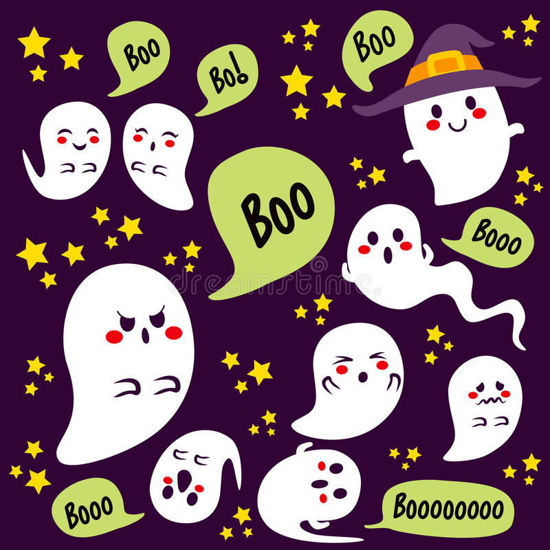 Halloween Ghosts Characters royalty free illustration