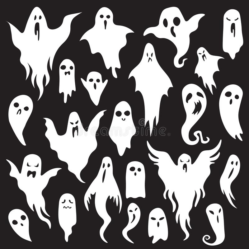 Halloween ghosts. Ghostly monster with Boo scary face. Spooky ghost flat vector icon set vector illustration