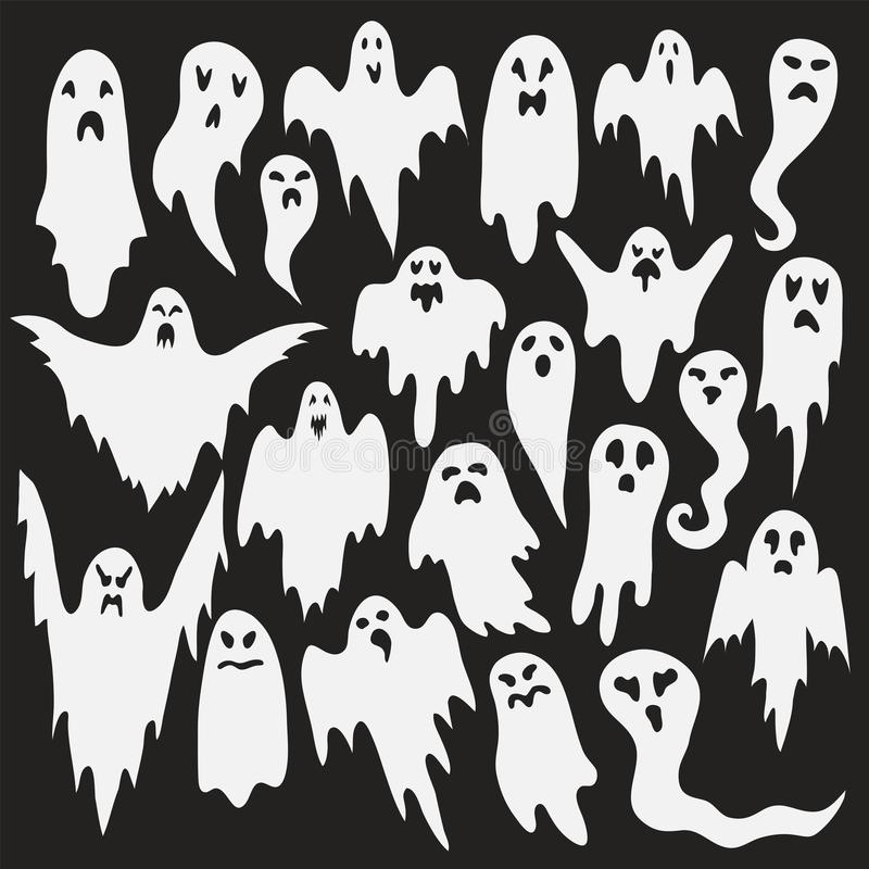 Free Halloween Ghosts. Ghostly Monster With Boo Scary Face Shape. Spooky Ghost White Fly Fun Cute Evil Horror Silhouette For Scary Stock Image - 155125391