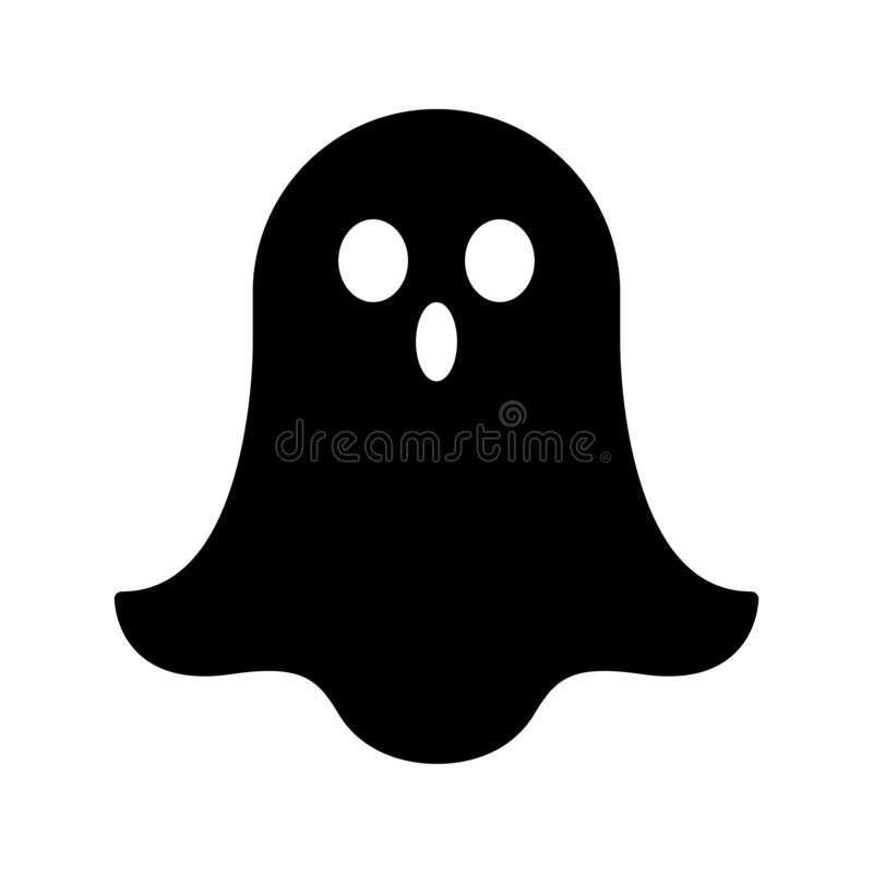 Free Halloween Ghosts. Ghostly Monster With Boo Scary Face Shape. Spooky Ghost White Fly Fun Cute Evil Horror Silhouette For Scary Octo Stock Image - 164132571