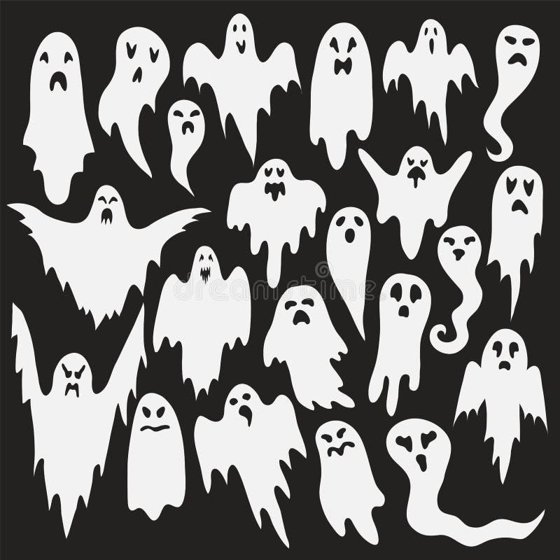 Halloween ghosts Monstro espectral com forma assustador da cara da vaia Silhueta má bonito do horror do divertimento branco assus ilustração do vetor