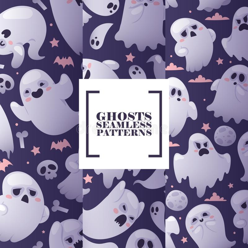 Halloween ghosts seamless pattern, vector illustration. Flying spirits with various emotions, funny cartoon characters vector illustration