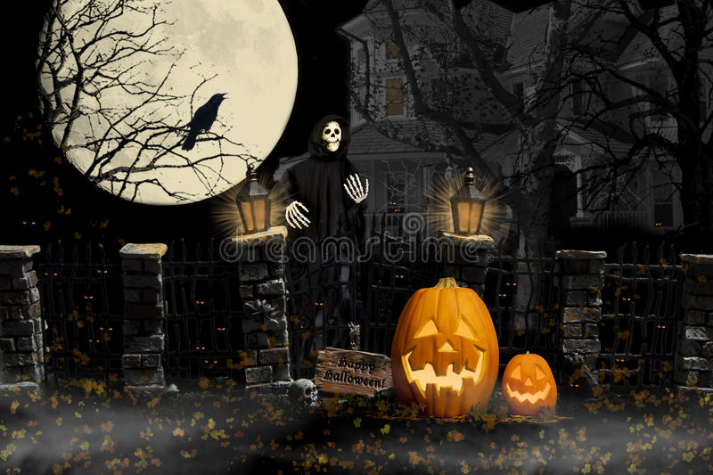 Halloween Ghoul Haunted House. A halloween ghoul and jack-o-lanterns standing near old broken iron fence with stone pillars with cawing crow, full moon and royalty free stock photography