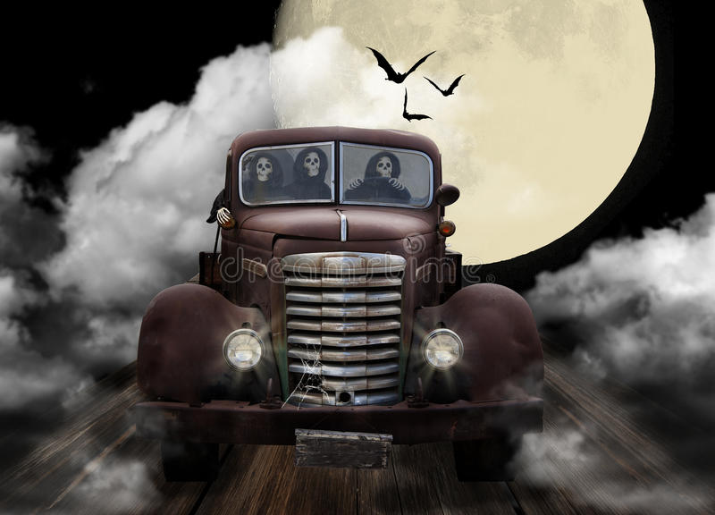Halloween Ghouls Joyriding in Truck vector illustration