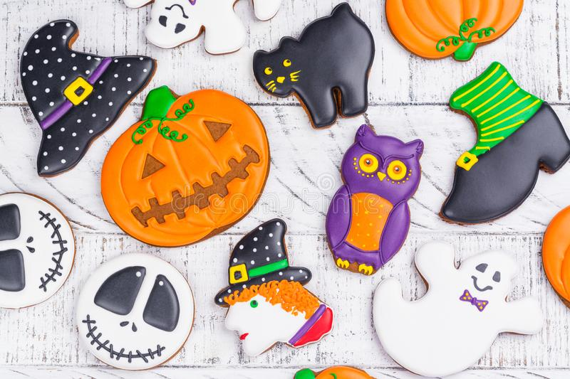 Halloween gingerbread cookies royalty free stock images