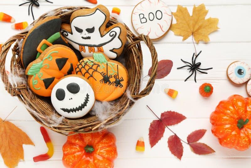 Halloween gingerbread cookies stock image