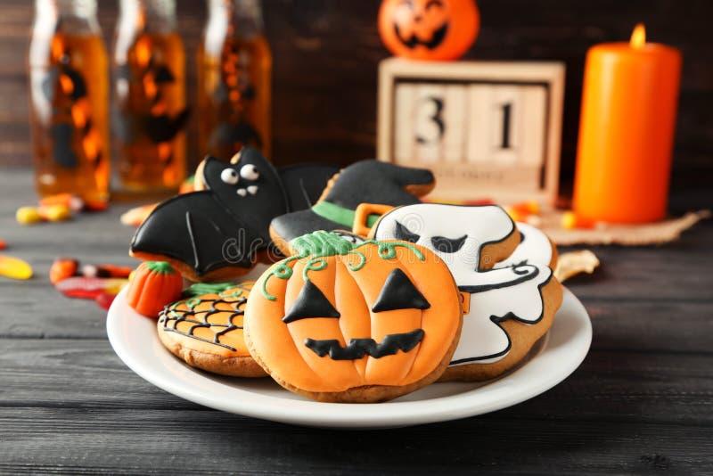 Halloween gingerbread cookies royalty free stock photo