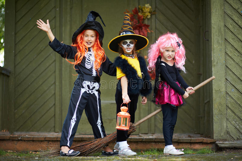 Download Halloween girls on broom stock photo. Image of expression - 34413114