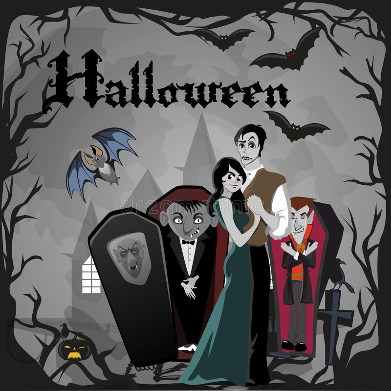 Halloween gothic party with vampire couple, fun background for horror invitation on vamp cosplay, dracula teeth and vector illustration