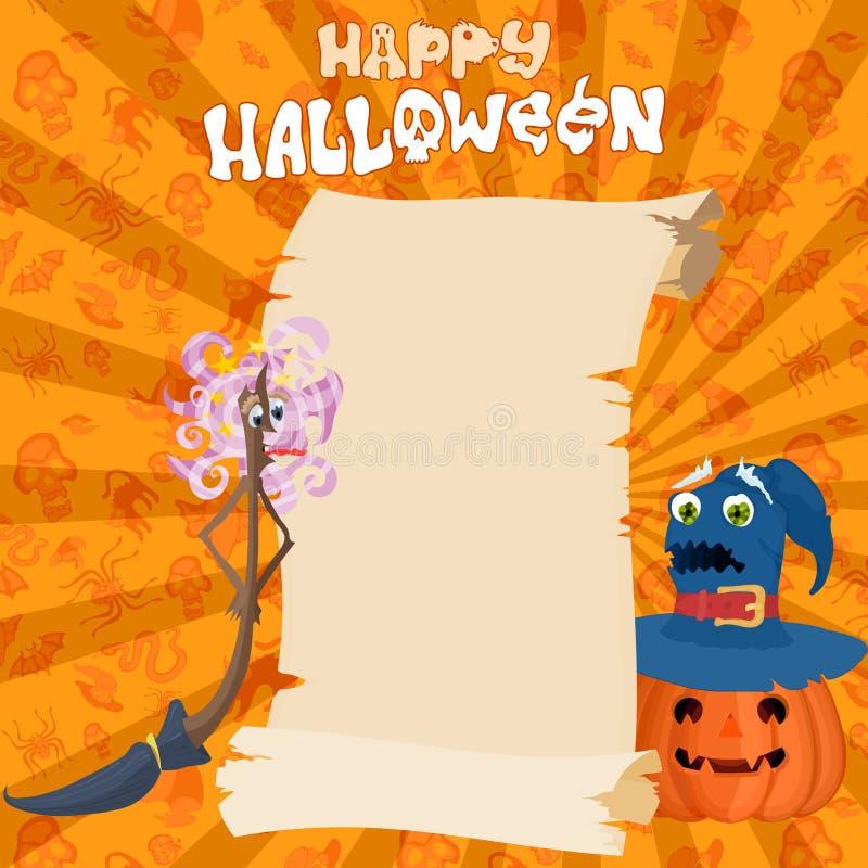 Halloween-Grüße verzeichnen Kürbis und Hexen in einer Liste vektor abbildung