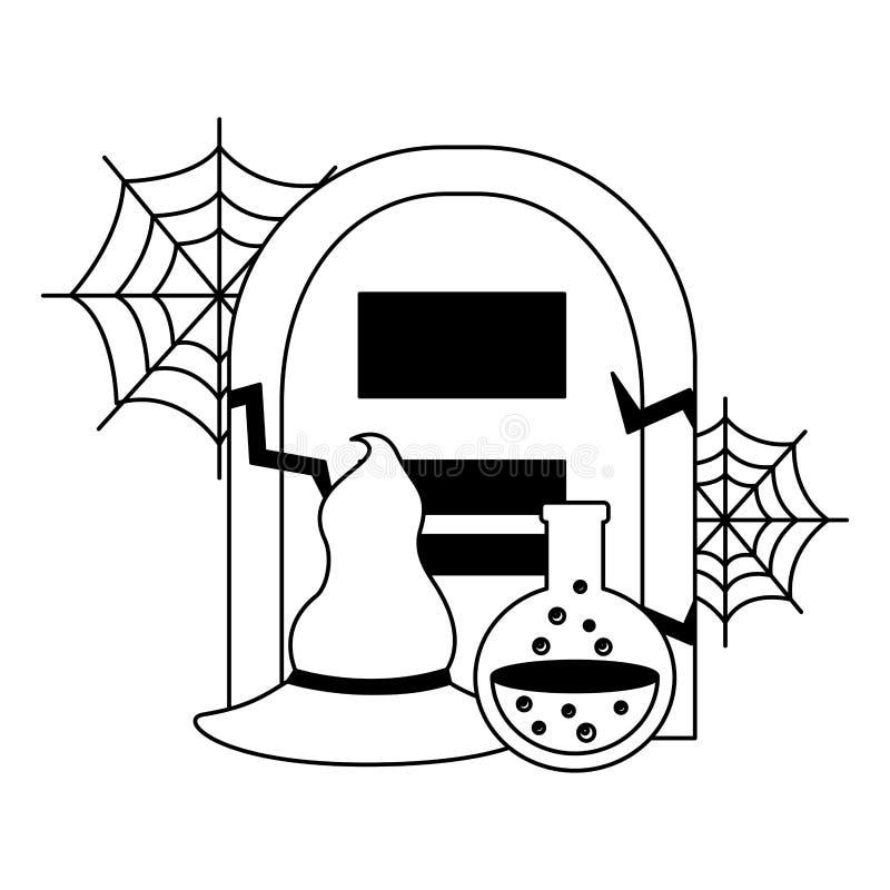 Halloween-Grab mit Gift- und Hexenhut vektor abbildung