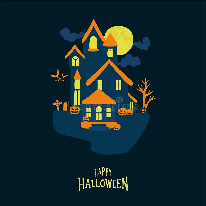 Halloween graphic card background vector illustration