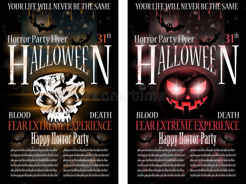 Halloween-Grausigkeit-Party-Flugblatt stock abbildung