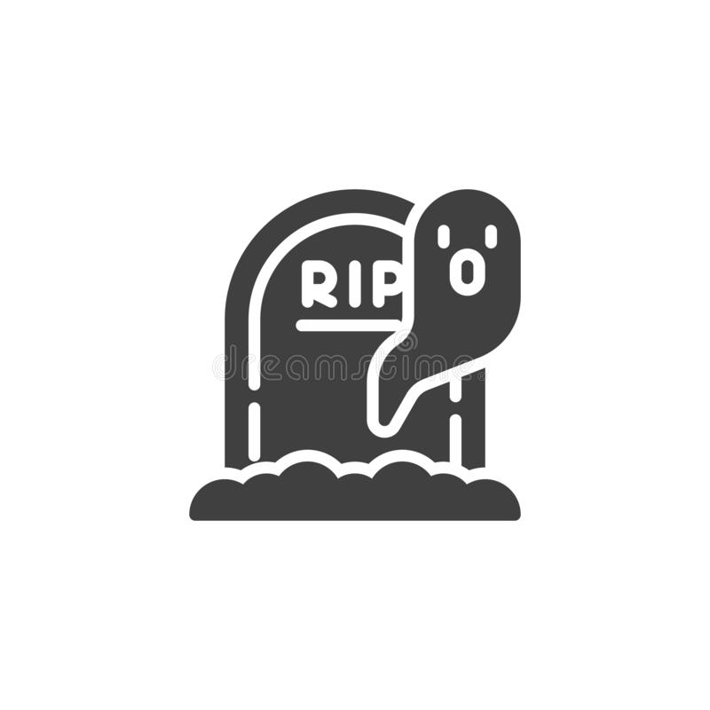 Halloween gravestone and ghost vector icon. Filled flat sign for mobile concept and web design. Tombstone and ghost glyph icon. Symbol, logo illustration stock illustration